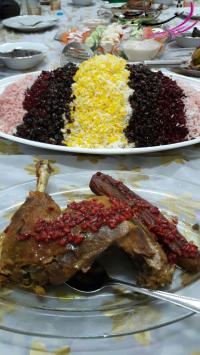 برنج ایرانی با تزیین ایرانی همراه با خروس سرخ شده دور چین بادمجون و ناردون مازنی